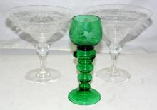 A Pair of Art Deco Stuart Crystal Bowls on  Pedestal Base with Vine Decoration. Height  6 1/2  in. Diameter 6 3/8 in.Also a German Green Etched  Roemer Rhine Wine Goblet. Height  7 1/4 in. (3  Items)