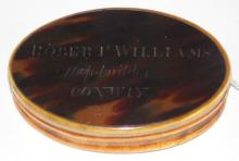 Local Interest Antique Georgian Tortoiseshell and  Horn Snuff Box Engraved Robert Williams  Shipbuilder Conway.Dated 1812. The records show a  Robert Williams ship builder of Conwy, buried  January 17th 1855 aged 75. Monogrammed to verso J.R.  3 7/8 x 2 1/2 inches.