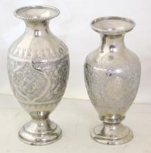 Two Antique Engraved Silver Metal Vases Middle  East Islamic Persian. Early 1900s. Height 18 & 17  cm. (2 Items)