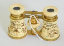 Antique Pair of Japanese Shibayama Ivory Opera  Glasses. 19thc. Working order nice lenses with  Chamois leather dust bag. Eye piece rings cracked.