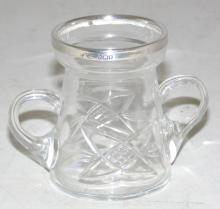 Sterling Silver Rimmed Cut Glass Two Handled  Cocktail Stick Holder c1901. Hallmarked London  1901 for Carrington & Co. Height 6.5cm