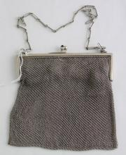 Sterling Silver Mesh Evening Purse with Royal Blue  Semi-precious Stones to the Clasp. Early 1900s.  Marked Sterling. 207 gm.  6 x 6 inches.