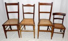 Antique Chairs x 4 19thc. Having with Bergere  Seats to include a pair with Inlaid Banding around  the back, a Single Victorian Childs Chair and  Single Chair . Heights 35in, 24in, 32.5 inches
