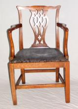 Georgian Antique Mahogany Hepplewhite Style  Elbow/Carver Chair. Early 19thc.  Height 36  inches.