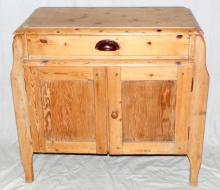 Antique Victorian Pine Side Cabinet. 19thc. Having  single top drawer over a cabinet with 2 shelves  supported on shaped legs.  Height 31 in.  Width 33  in.  Depth 16 in.