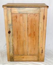 Antique Victorian Pine Side Cabinet. 19thc. Having   a cabinet with 2 shelves.  Height 40 in.  Width  29 in.  Depth 16 in.