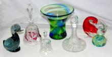 A Collection of Art Glass to Include:Medina Seahorse Paperweight plus 2 others, 2 x Bells,Miniature Ships Decanter, Art Glass Vase . (7 items)