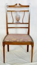 Edwardian Inlaid Mahogany and Rosewood Side Chair. Early 1900's. The finely inlaid entwined vase back over upholstered seat.All supported on tapering front legs. Height 32 Inches