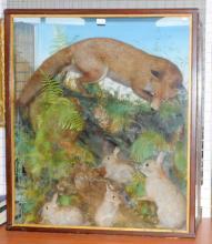 Fine Victorian Thomas Jeffries of Camarthen  Taxidermy 'Fox and Rabbit Ambush' in Mahogany  Case.  Circa 1890s. Height 40 in. Width 35 in.  Depth 14 in.