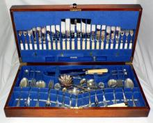 1920s Oak Tray Top Cutlery Box with a Good  Selection of Silver Plate EPNS  Flatware.  25 x 13  inches.