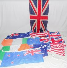 Victorian Union Jack Flag and 10 x Commonwealth  Flags in Antique Leather Suitcase.  (12 Items)