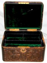 Antique Finnigans Manchester High Quality Tooled  Embossed Leather Jewellery Box. 19th Century. Is a  delight!. in a dark brown leather exterior,  fitted  interior in an emerald green velvet  .Complete with a working bramah lock and key.