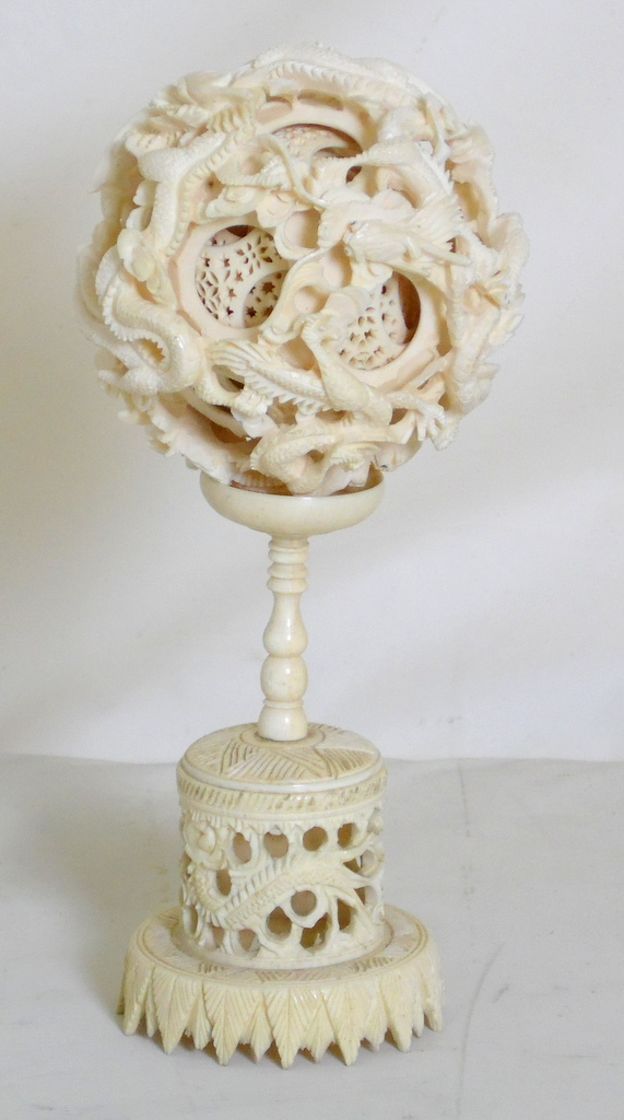 Large Antique Chinese Carved Ivory Dragon Puzzle Ball on Stand