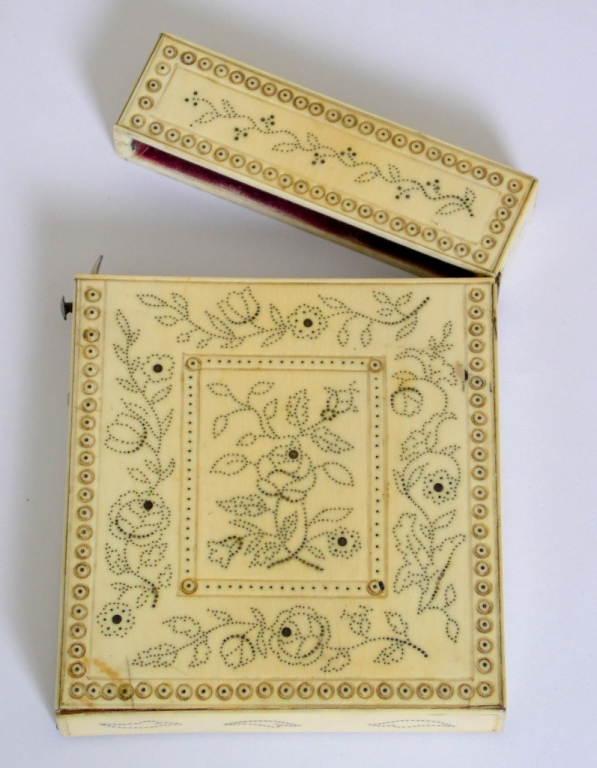 Antique Ivory Card Case Decorated with Flowers with Silver