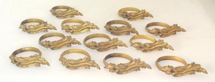 13 Antique Gilt Brass Decorative Curtain Pole Rings. 19thc. Diameter 6 cm. (13 Items)