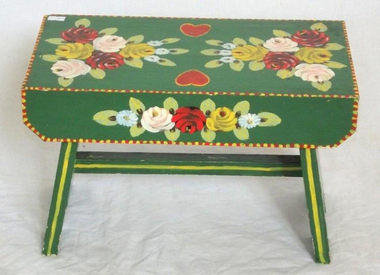 Hand-Painted Traditional Canal Art ~ Handmade Wooden Cabin Stool. Height 9.5 in. 15 x 8 in.