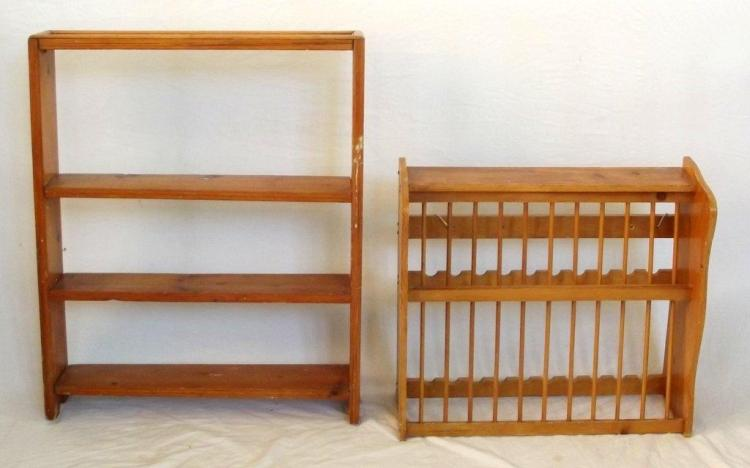 Antique Pine Plate Rack for 24 Plates 22 x 24 inches. Also a pine 3 shelf dwarf bookcase. 32 x 26 inches. (2 items