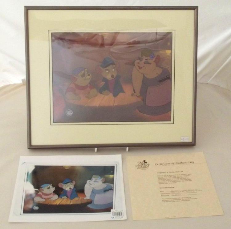 Disney THE GREAT MOUSE DETECTIVE Animation Cel of BASIL & Dr DAWSON with Disney Seal. Circa 1986. With Disneyana COA and price tag $575.00. Framed 43.5 x 36 cm.