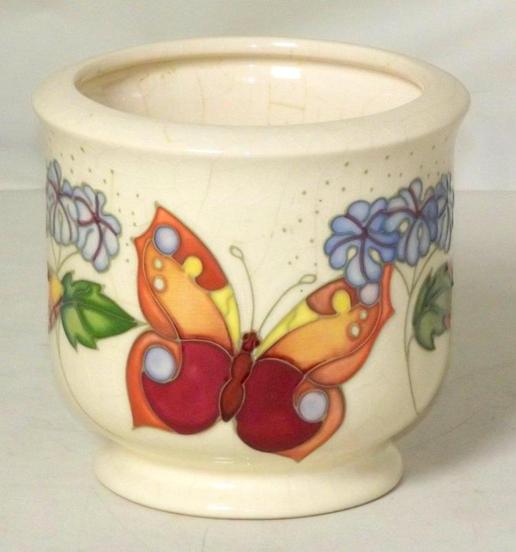 Moorcroft Jardiniere With Butterfly Decoration Height