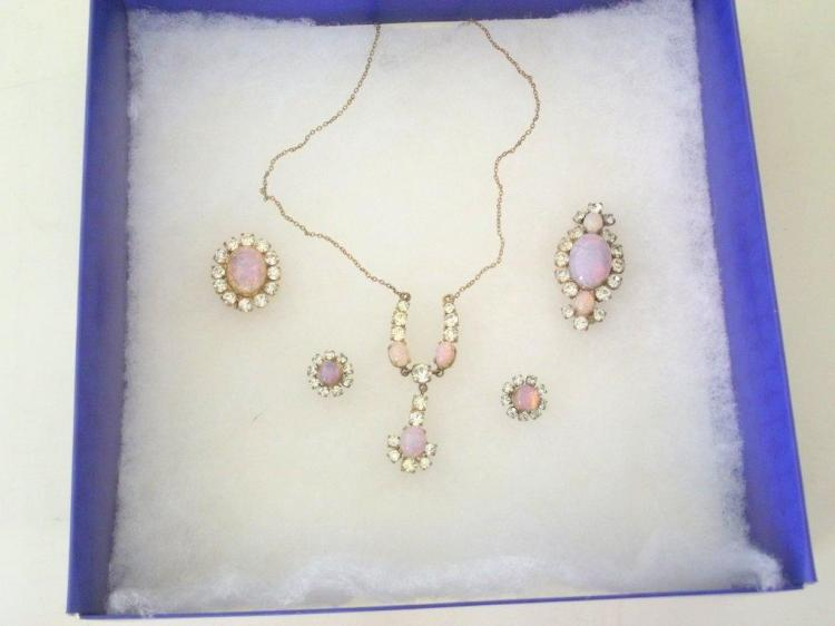 Vintage Costume Jewelry Set with White & Crystal Opal Style Stones.Consisting of: Pendant necklace,ear studs and 2 x brooches. (5 Items)