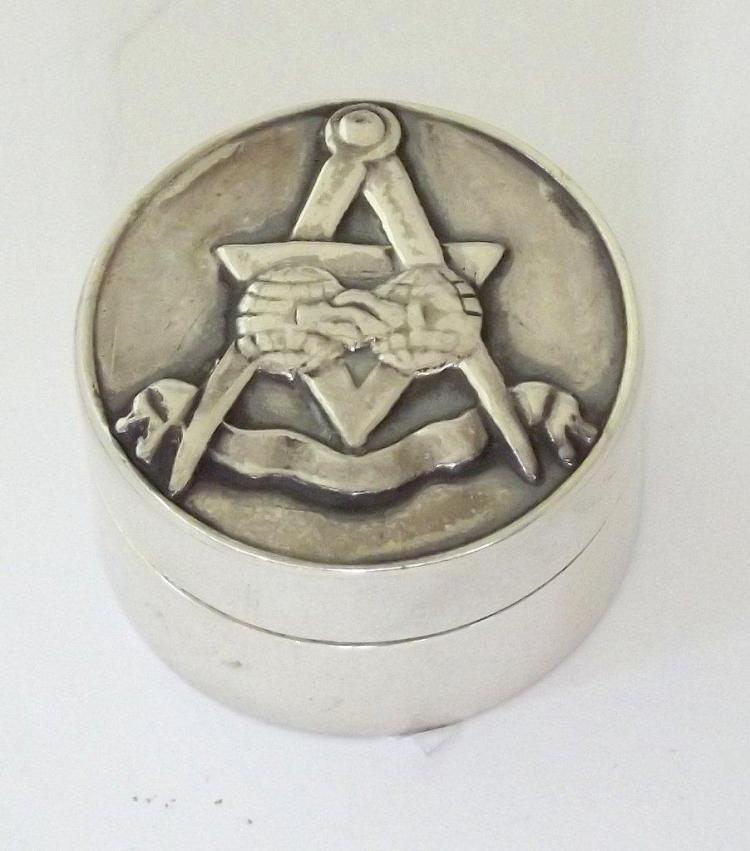 Sterling Silver Circular Repousse Masonic Pill Box with Lift of Lid. Marked .925. Diameter 2.8 cm.