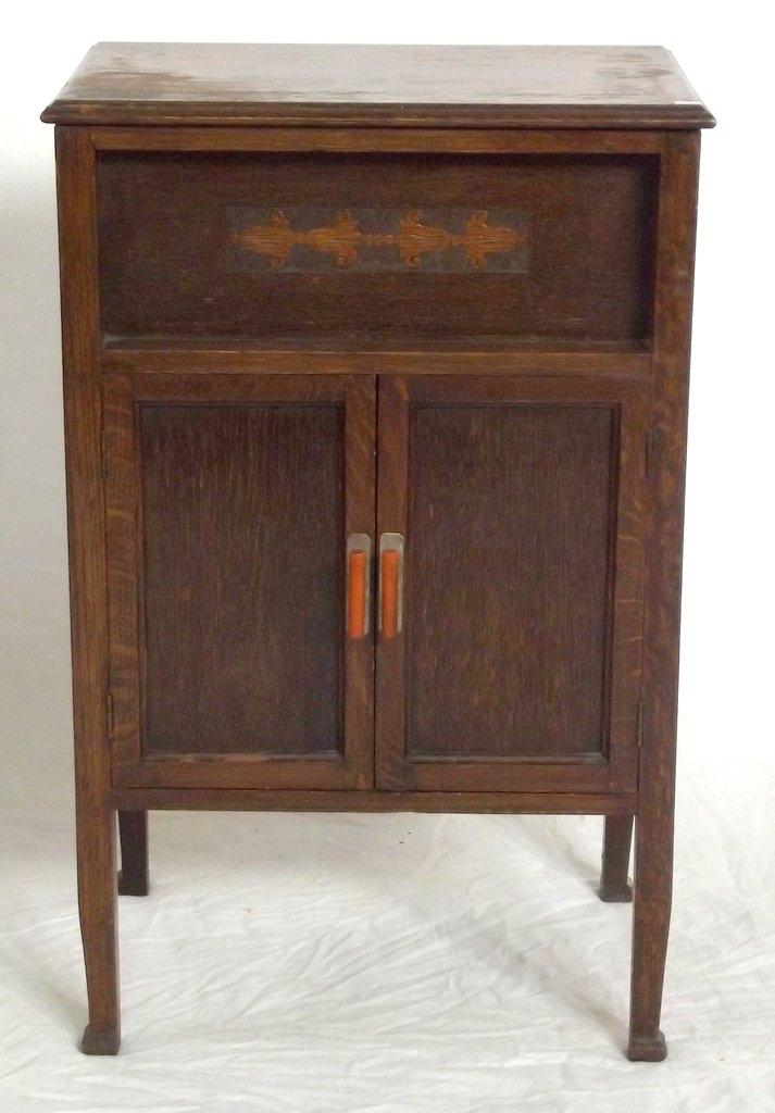 1920s Oak Record Player Cabinet Beside Cabinet Height