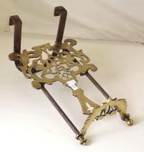 Antique Decorative Brass and Iron Sliding Kettle Stand/Trivet. 19thc.  Length 46cm.