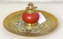 Antique Victorian Decorative Cast Brass Inkstand with Pottery Ink Reservoir Mounted with Brass FlipTop.Late 19thc.  Diameter 20cm.