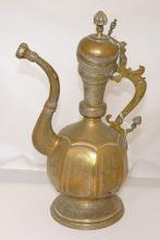 Antique Arabic Islamic Middle Eastern Dallah Engraved Brass Coffee Pot. 19thc.  Height  40 cm. Faults.