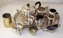 Collection of Silver Plate EPNS Tea Ware Etc on Gallery Tray.. (10 Items)