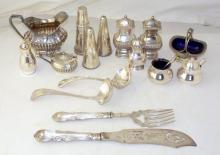 Collection of Silver Plate EPNS Condiment Sets, Fish Servers Etc. (16 Items)