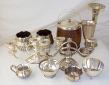 Collection of Silver Plate EPNS Candelabra, Goblet, Biscuit Barrel Etc. (11 Items)