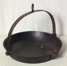 Antique Cast Iron Hanging Skillet Pan With Spout. Diameter  29 cm.