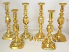 Good Set of Antique 19thc King of Diamonds x 4 and Queen of Diamonds x 2 Brass Candlesticks. With ejectors. All having impressed King / Queen marks. Height 31.5 and 29 cm. (6 Items)