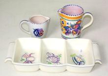 Poole Pottery Collection Consisting of Two Cream Jugs and Three Sectioned Tray. (3 items)