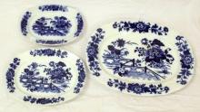 Antique Victorian Flow Blue Yedo Pattern Serving Plates by Mason's Ironstone Ashworth Brothers. 24 x 31cm, 35 x 28cm, 50 x 39 cm (3 items).