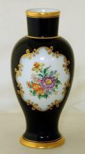 Vienna Augarton Wien Vase with Floral Decoration. Height 25cm.