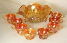 Vintage Carnival Glass Marigold Punch Bowl with 8 Cups Set. (9 Items) Chip to bowl.