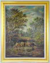 Alfred Worthington 1835-1925. Local Interest Oil on Canvass 'Llanbadarn Church with Cattle Drinking in the Foreground'. Signed Alfred Worthington and Dated 1881 Lower Left.. Later frame 46.5 x 36.5 ins (118 x 93 cms) PROVENANCE - From the artists family.