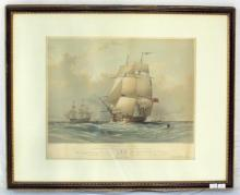 Scarce Oswald Walters Brierly (British, Chester 1817–London 1894). Frigates at Sea. (HMS Hercules & Inconstant). Lithograph by G Hawkins. 19thc.  Framed under glass 24.5 x 19.5 inches.