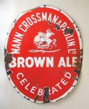 Scarce Antique Oval Mann Crossman & Paulin Ld, Celebrated Brown Ale Enamel Sign. 10.5 x 13 inches