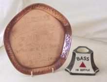 Mintons Bass in Bottle Advertising Bar Match Holder/Striker Circa 1900. Also a Copper Teachers Highland Cream Tray. Early 1900s. (2 Items)
