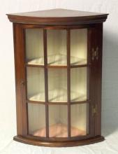 Vintage Mahogany Bowfronted Corner Display Cabinet with Glazed Door. 20thc. Height 26.5 in. Width 20 in. Depth 14 in.