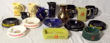 Wade Collection of Advertisement Water Jugs ,Ashtrays and a Decanter to Include: Bells, J&B, Grants, Long John Etc. (17 Items).