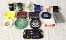 Wade Collection of Advertisement Water Jugs and Ashtrays  to Include: Bass & co, Burton, Marstons, Heineken Etc. (16 Items).