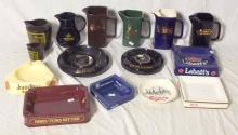 Wade Collection of Advertisement Water Jugs and Ashtrays to Include: Carlsberg, Skol, Labatts,Tia Maria Etc. (15 Items).