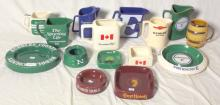 Wade Collection of Advertisement Water Jugs, Ashtrays and a Mug to Include: Hamlet Cigars, Worthington E, Ruddles County Etc. (15 Items).