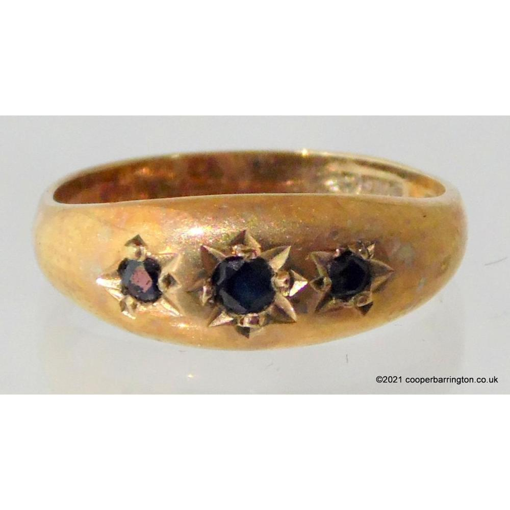 9ct Gold Men's Three Stone Sapphire Signet Ring