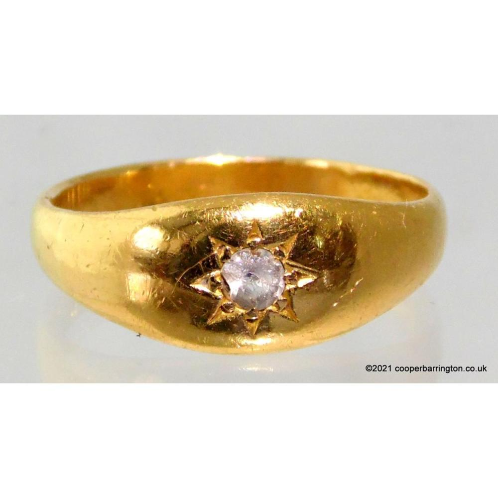 24ct Yellow Gold and White Stone Signet Ring