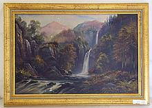 George Willis Pryce (British, 1866-1949). Waterfall Oil on Board. Signed lower right Willis Price. Later frame 43 x 30 cm.